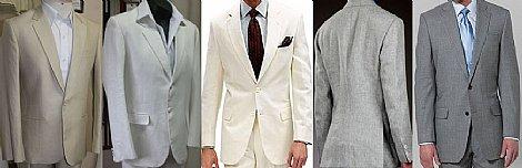 Ternos de linho bege, off white, branco e cinza